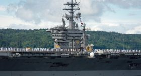 U.S. Navy USS Nimitz Carrier Strike Group ship departs Pacific Northwest for deployment. Photo via USNavy on Twitter