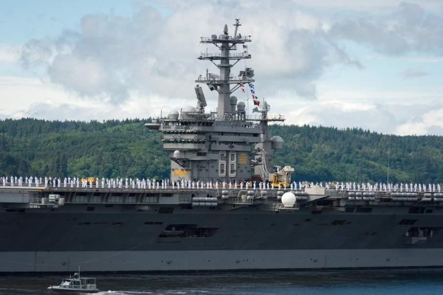U.S. Navy USS Nimitz Carrier Strike Group ship departs Pacific Northwest for deployment. Photo via USNavy on Twitter
