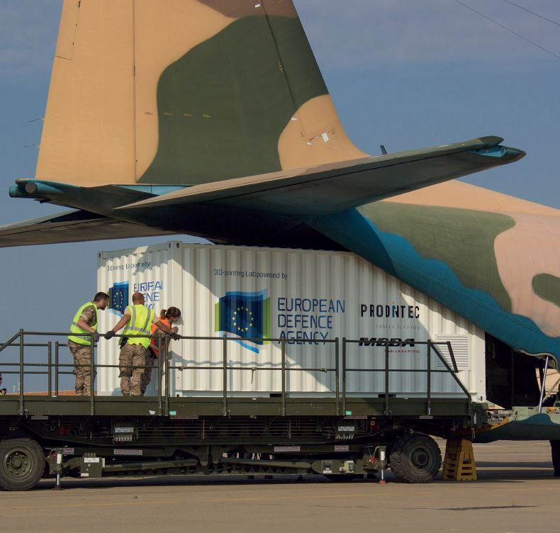 Loading the 3D printing lab onto the Spanish C-130 carrier aircraft. Photo via EDA.