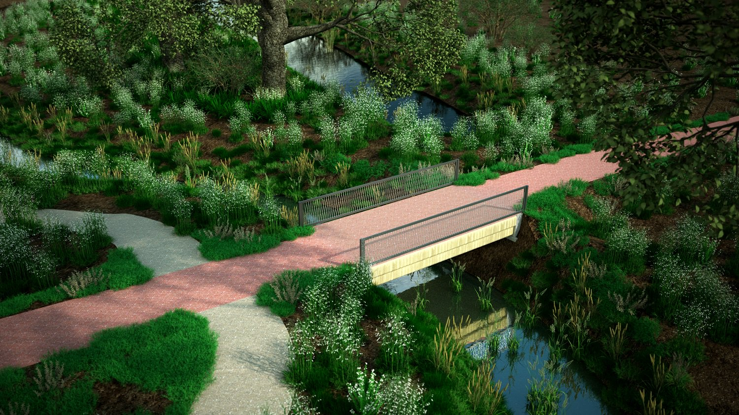An artist's conception of how the finished bridge will look. Image via BAM Construction.