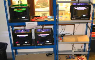 A farm of MakerBots in the University of Bristol's makerspace. Photo by James Gospill