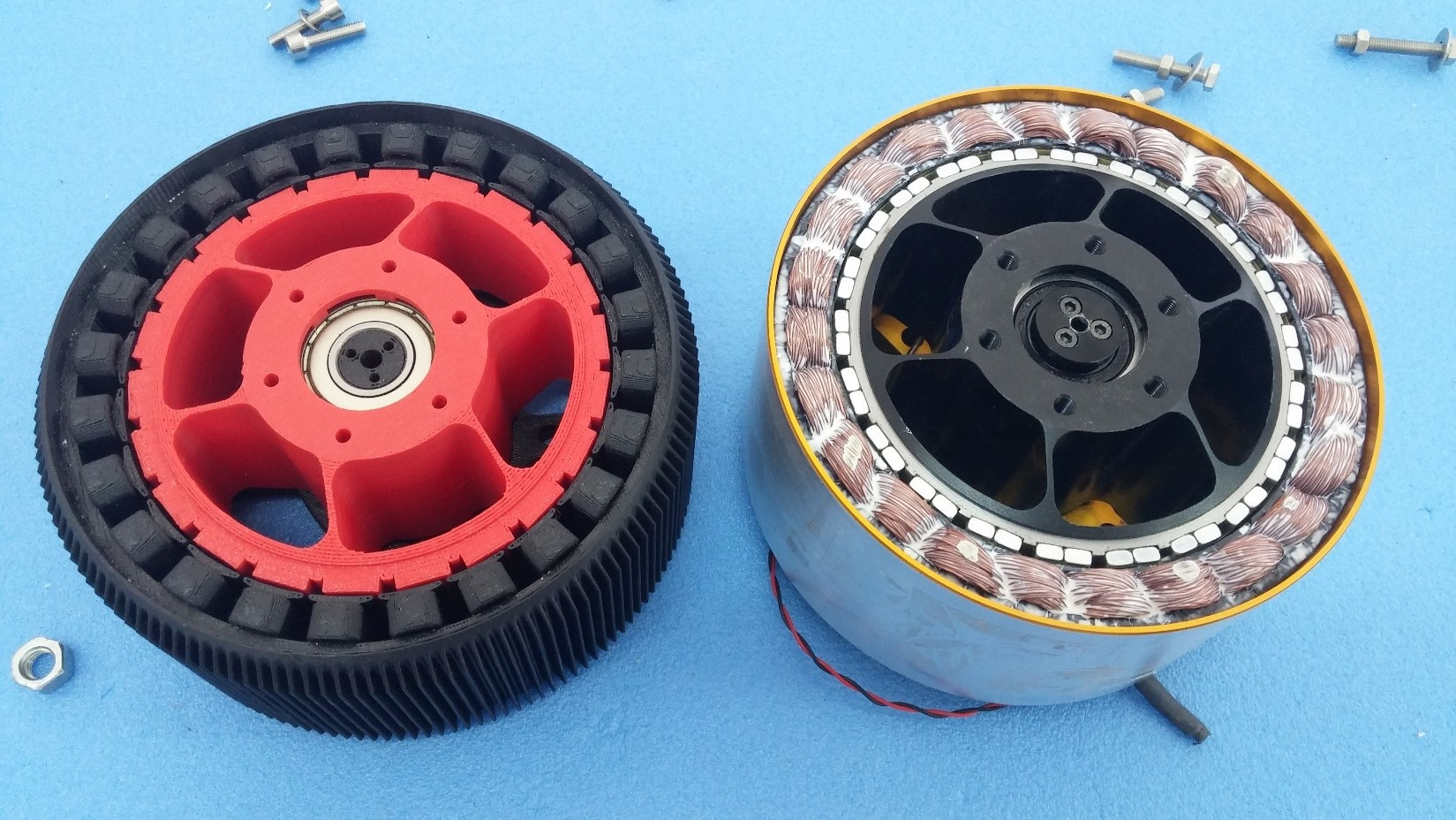 The 3D printed wing tip motor and its final production counterpart right. Image via Eviation.