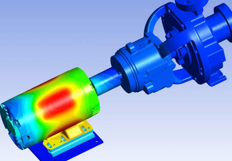 Digital simulation of a motor pump overload using ANSYS/Thingworx integration. Image via ansys.com