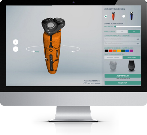 Philips 3D printed shaver - Configurator