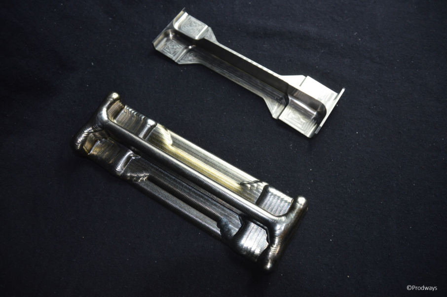Side-by-side a 3D printed part before post-machining and one after. Photo via Groupe Gorge.