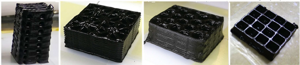 3D printed test structures made from graphene oxide/geopolymer ink. Image via Zhong, Zhou, He, Yang and Jia.