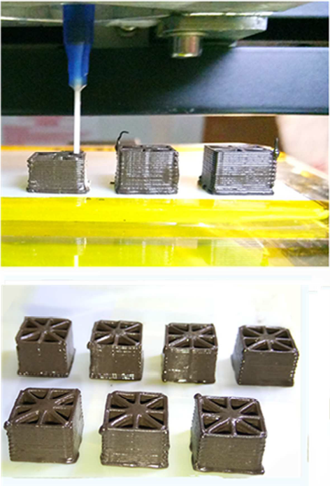 3D printing of the GO/Geopolymer ink. Image via Zhong, Zhou, He, Yang and Jia.