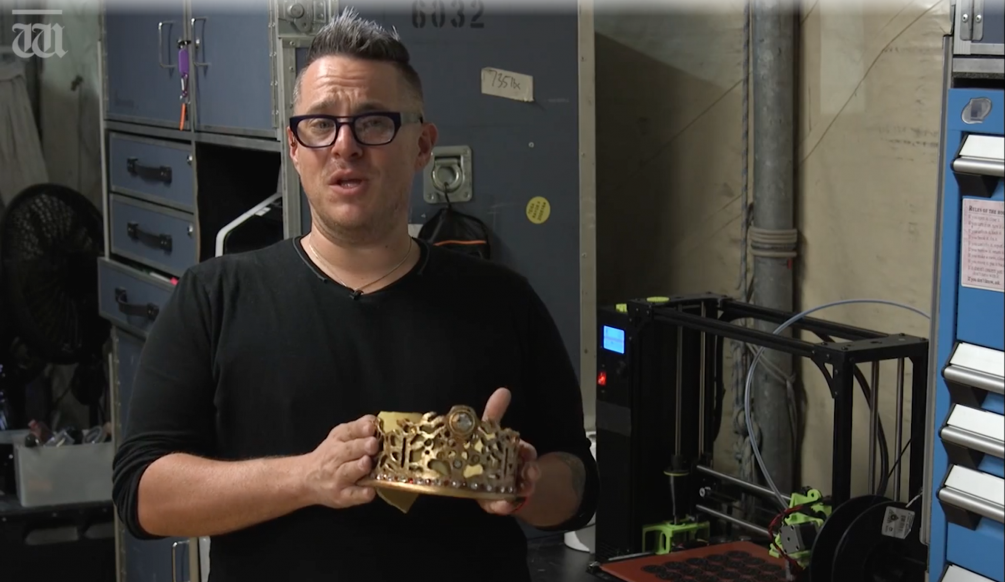 Cirque du Soleil head of wardrobe Jason Brass shows the 3D printed crown.Screenshot via The West Australian
