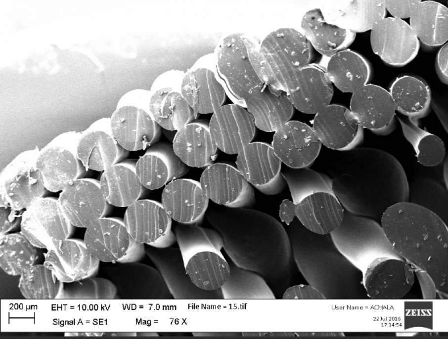 SEM image of the internal structure of 3D printed TPU. Image by Dr. Achala de Mel