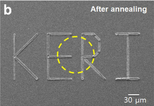 Korea Electrotechnology Research Institute initials printed in silver ink, measuring approximately 0.42 mm long by 0.15mm high. Image via ACS Applied Materials & Interfaces