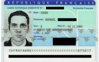 Raphaël Fabre's national identity card issued by the French administration. Photo by Raphaël Fabre