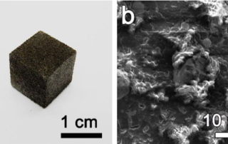A 3D printed cube of graphene foam and and SEM image of its molecular make-up. Image via ACS Nano