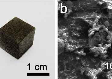 A 3D printed cube of graphene foam and and SEM image of its molecular make-up. Image via ACS Nano