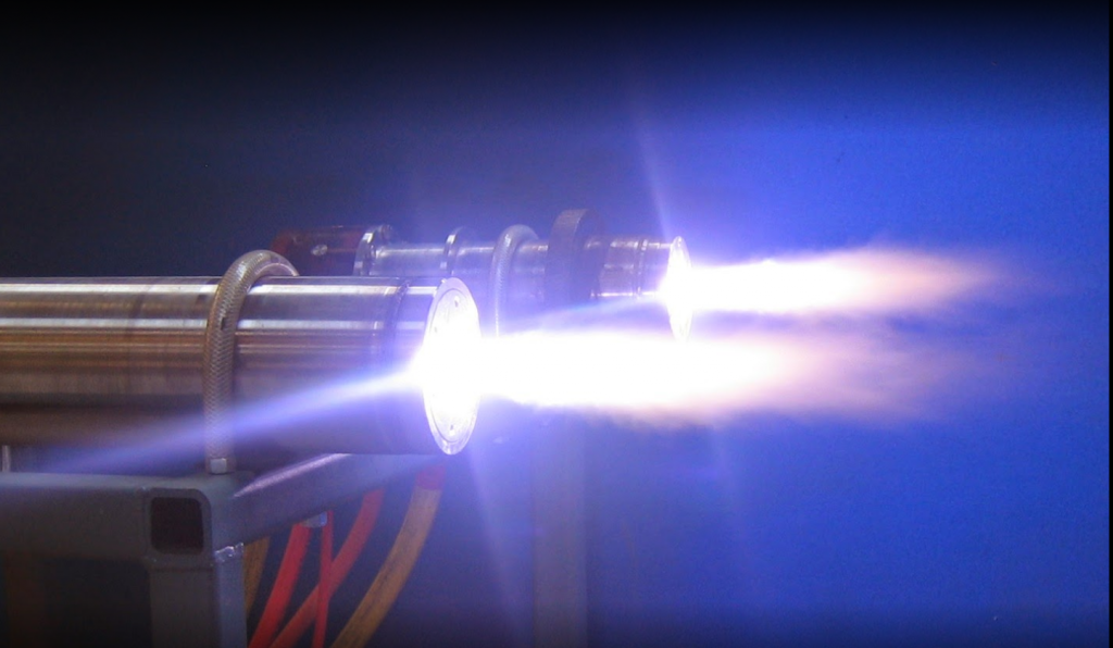 Gas plasma jets as used in the atomization process. Photo via PyroGenesis