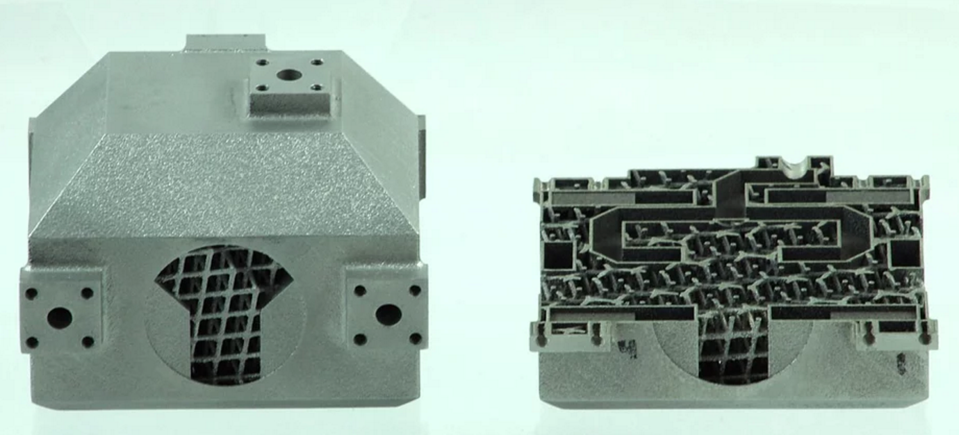 Metal 3D printed RF parts showcase the use of geometric design. Image via Optisys.