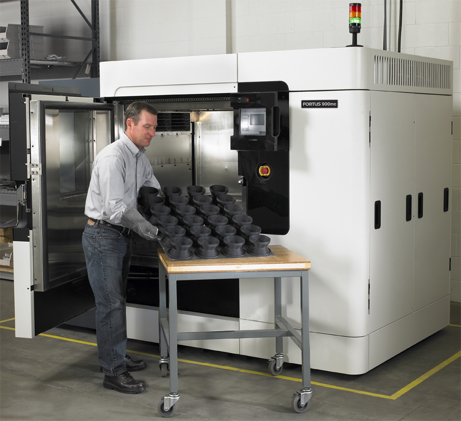 The Stratasys Fortus 900mc 3D printer.