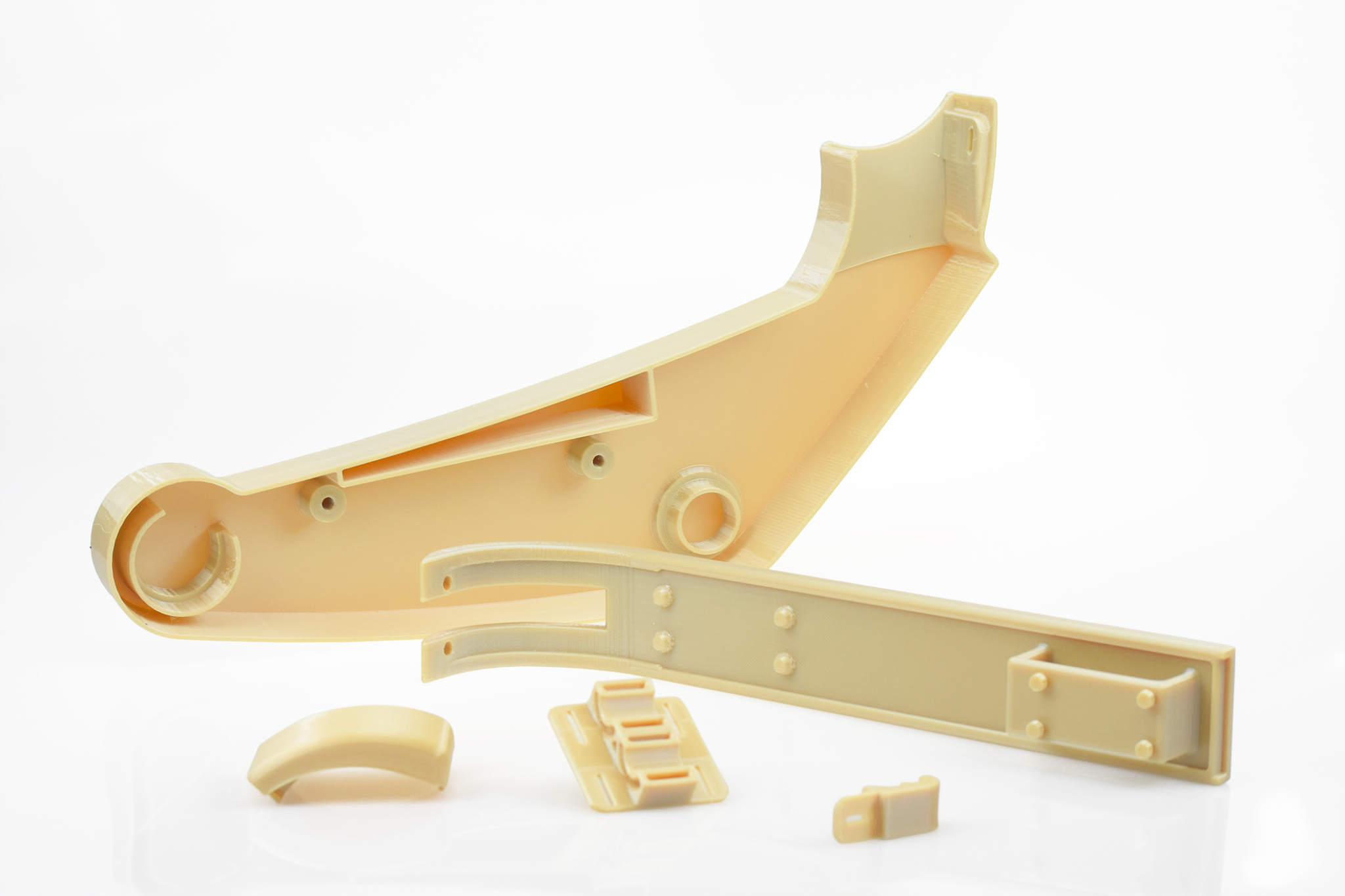 Brackets 3D printed on the Fortus 900mc Production 3D Printer. Image via Stratasys.
