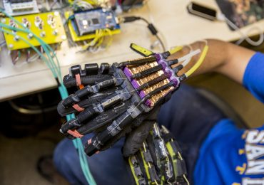 The VR robotic glove from UC San Diego. Photo via jsoe on Flickr
