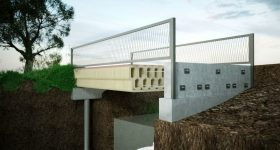 An artist's impression of the finished bridge. Image via Bam Construction.