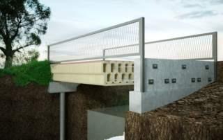 An artist's impression of the finished bridge. Image via Bam Construction.