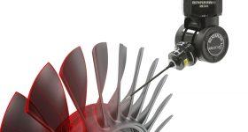Renishaw's REVO system analyzing a turbine blade. Image via Renishaw.