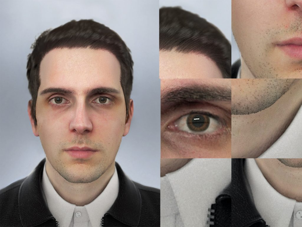 3D model of Fabre's face face and telling details of it digitization. Image via Raphaël Fabre