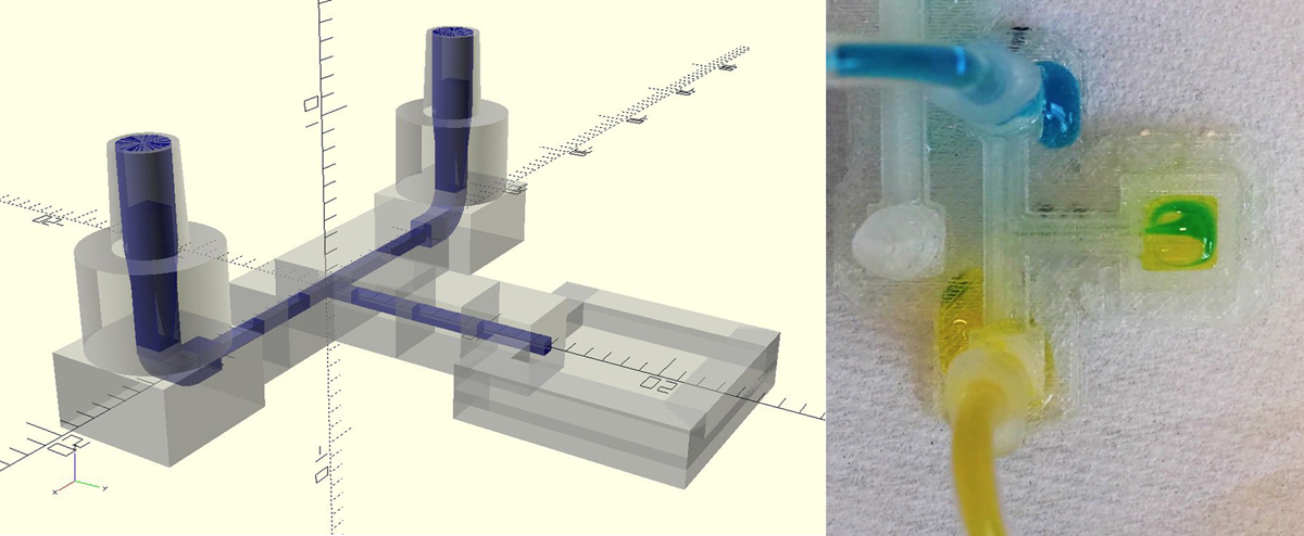 The winning microfluidic design design's STL and resulting 3D print. Image via Enterprise in Space.