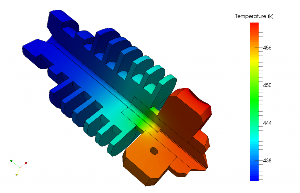 Simulation of the heat distribution inside the extruder of an FDM 3D printer.