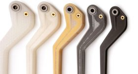 Nylon brake levers with varying faber reinforcement 3D printed using Markforged technology. Photo via 3DHubs