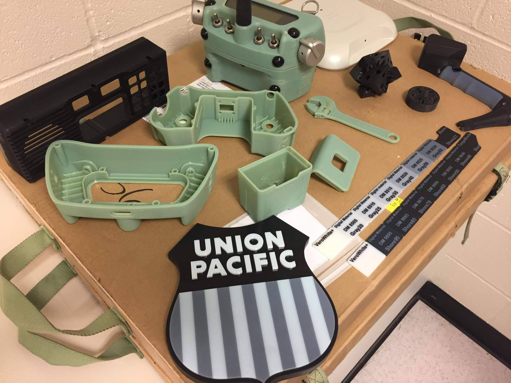 Some of the various items 3D printed by the railroad company. Photo via Union Pacific.