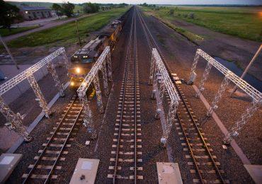 A Locomotive passes through the Machine Vision point in Beck, Nebraska. Photo via Union Pacific.