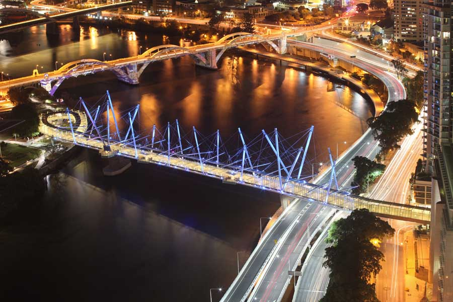The Kurilpa Bridge in Melbourne is one of the largest structures on earth to utilize tensegrity.