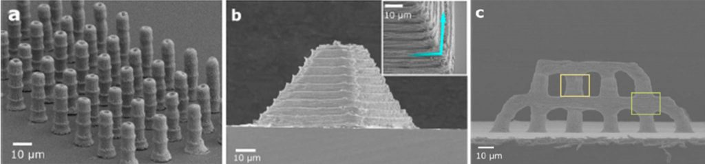 Experimental 3D printer silver nanoarchitecures. Columns (a), micro pyramid (b) and a coliseum-like structure (c). Images via ACS Applied Materials & Interfaces