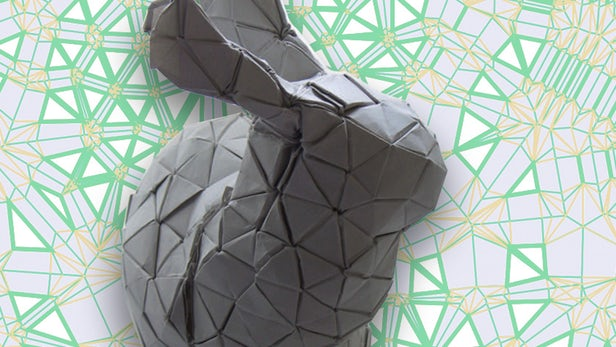 Demaine and Ku's algorithm used to make an origami model of the Stanford bunny. Image by Christine Daniloff/MIT