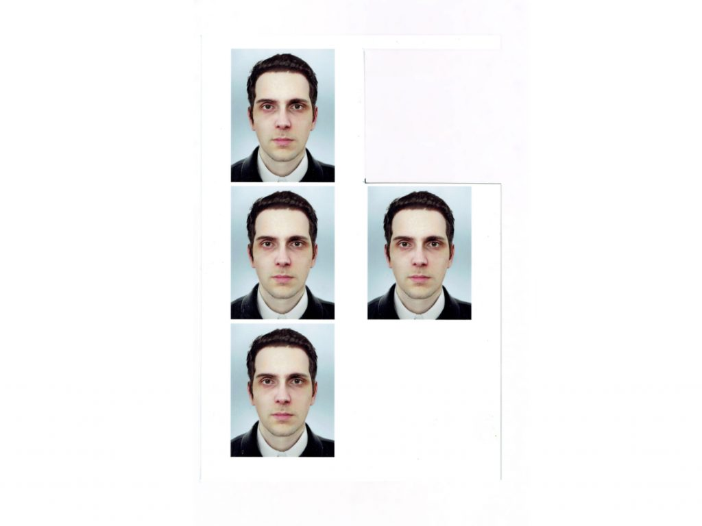 A strip of I.D. photos used by Fabre to attain the card. Photo by Raphaël Fabre