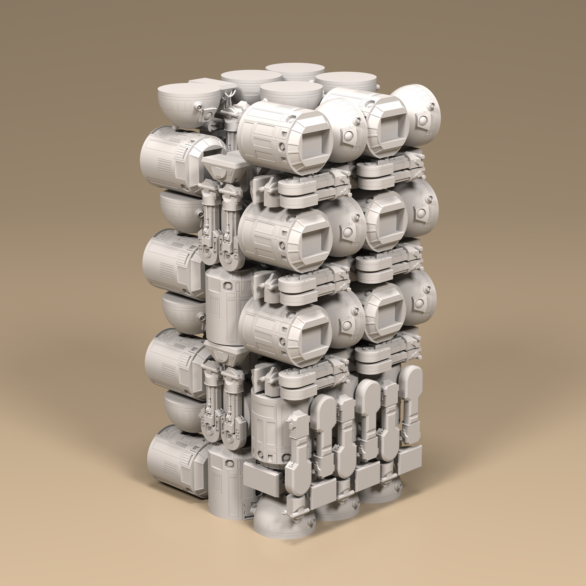 With smart packing, Fogleman's algorithm can pack 27 large droids. Image via Micheal Fogleman.