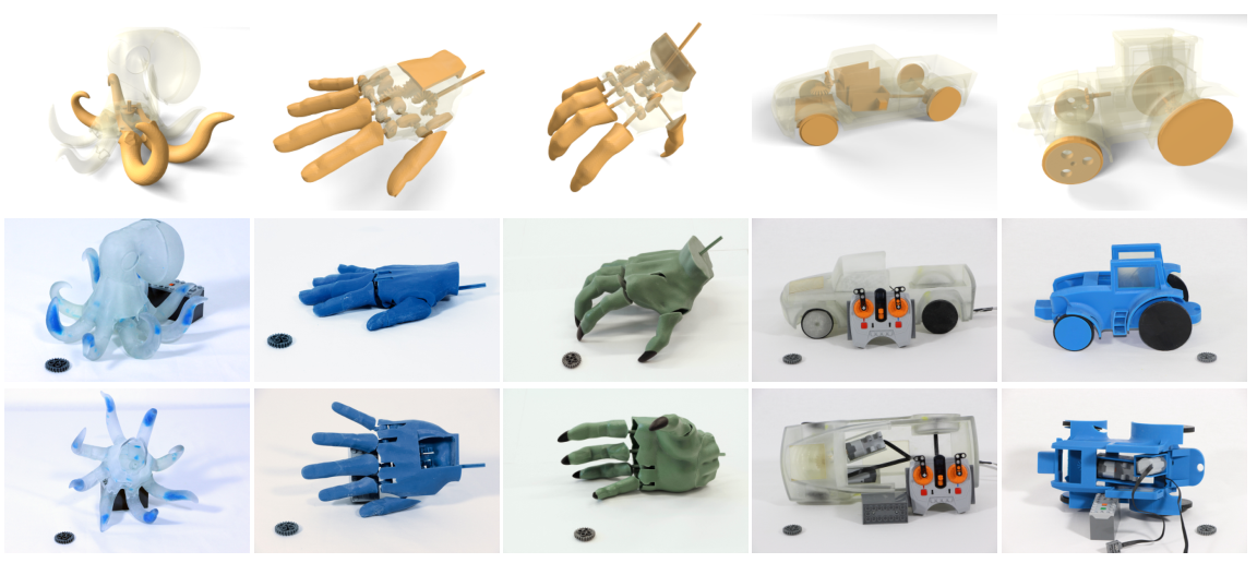 The 3D printed prototypes that have been created so far. All have functional mechanical properties. Image via IST Austria.