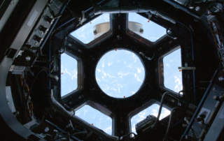 The International Space Station's Cupola window. Photo via NASA/Spaceflight