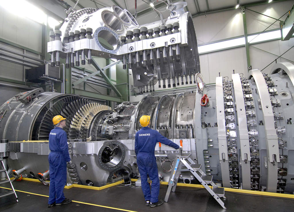 A Siemens SGT5-8000H gas turbine with a capacity of 340 megawatts (MW) of power. Photo via Siemens