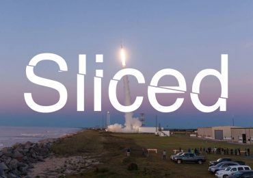 Sliced logo over the lounge of Black Brant IX sounding rocket, containing 3D printed Mars rover concepts from Virginia Tech and Central Florida. Original photo credit: NASA/Allison Stancil