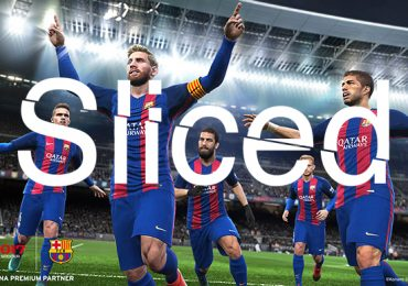Sliced logo over a screen from Pro Evolution Soccer 2017. Original image property of Konami.