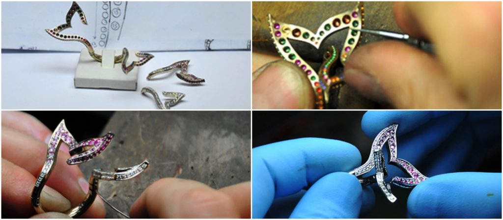 Various stages of the jewelry making process. Image via BMC Gioielli