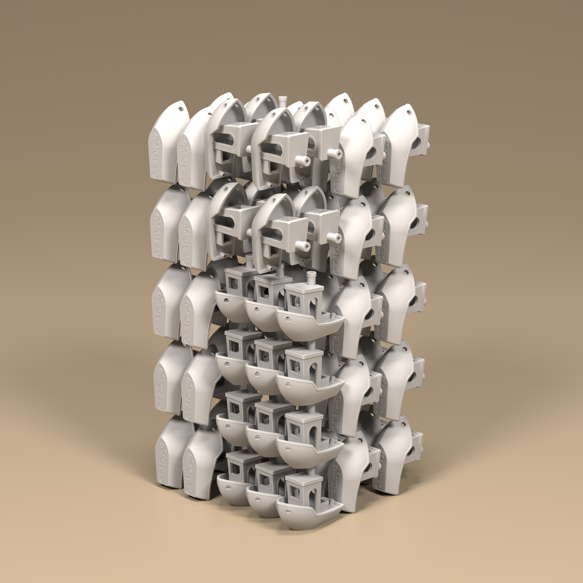 "Only 82 benchys can fit with ""naive bin packing"" according to Fogleman. Image via Michael Fogleman."
