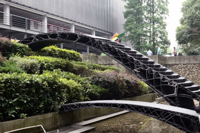 The two bridges side by side at the entrance of the College of Architecture and Urban Planning at Tongji University.