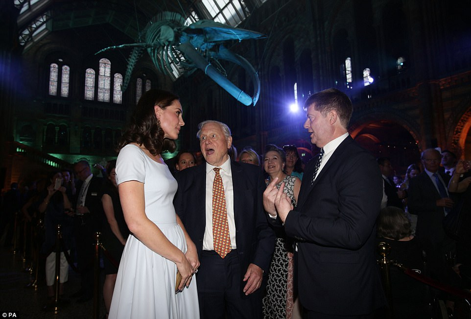 HRH Kate Middleton the Duchess of Cambridge speaks with Sir David Attenborough and NHM director Sir Michael Dixon at the grand unveiling of Hope the Whale. Official press photo courtesy NHM
