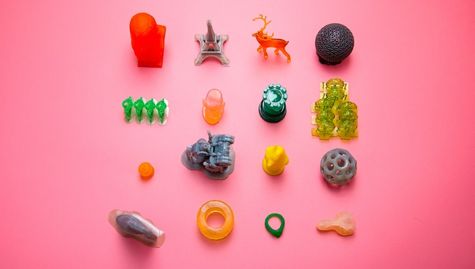 Multi-colored 3D prints from SparkeMaker. Photo via SparkMaker WOW! on Kickstarter