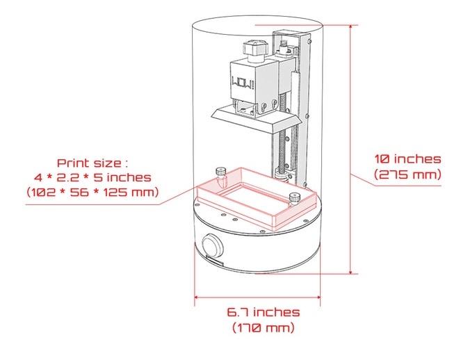 SparkMaker dimensions. Image via SparkMaker WOW! on Kickstarter.