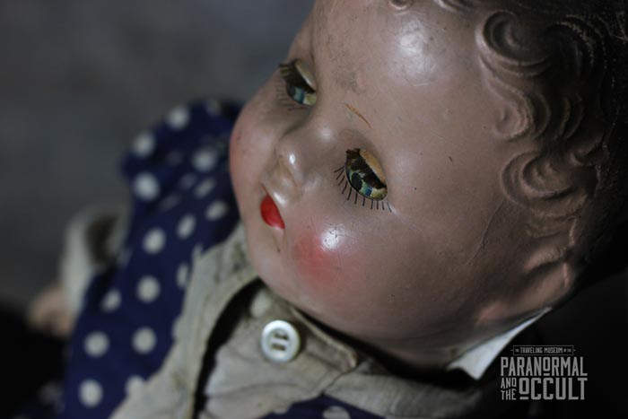 Ruby the Haunted Doll. Photo via the Traveling Museum of the Paranormal & Occult