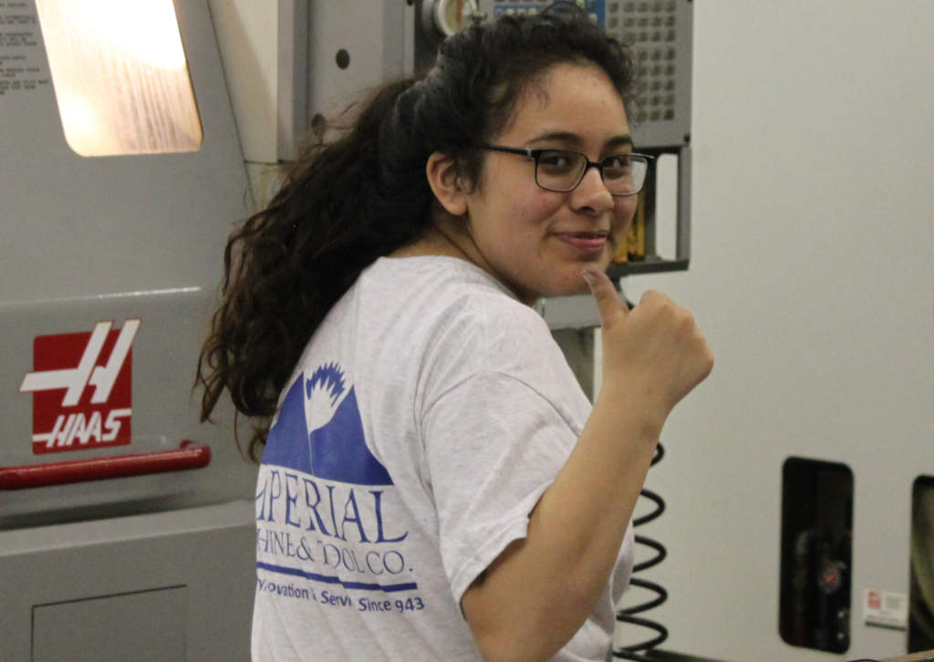High school student Karen recently completed Imperial's formal CNC machining training program as part of her co-op experience.