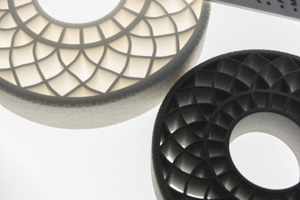 3D printed airless tires that used BASF thermoplastic polyurethane (TPU). Image via BASF.